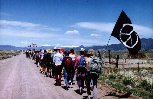 March with Anarchist Flag